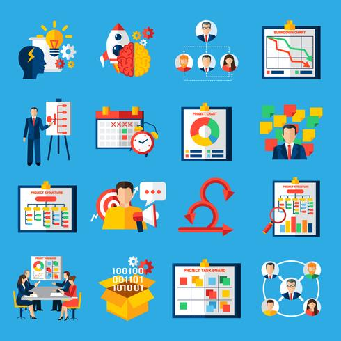 scrum agile utveckling platt ikoner uppsättning vektor