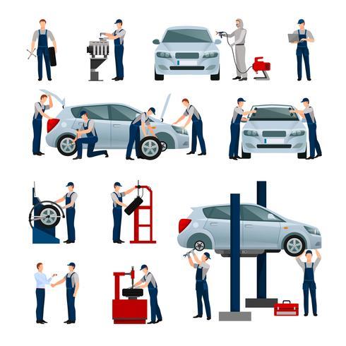 Autoservice-Leute-Ikonen eingestellt vektor