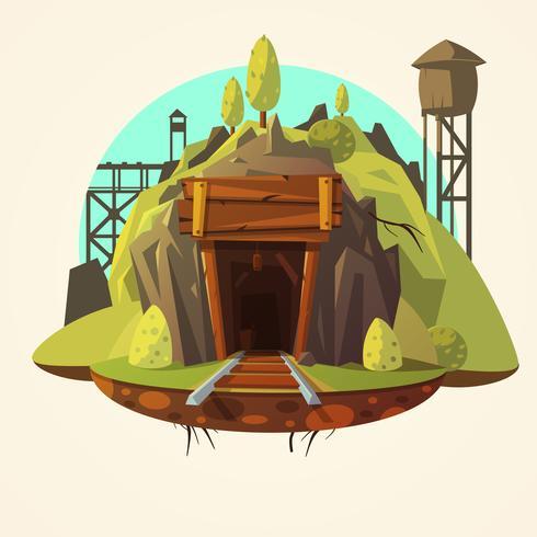 Bergbau-Karikaturillustration vektor