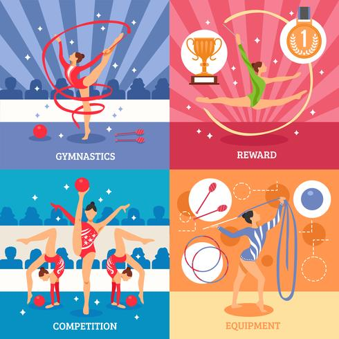 Konst Gymnastik 2x2 Design Concept vektor