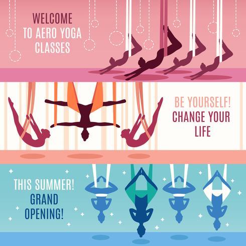 Aero Yoga horizontale Banner gesetzt vektor
