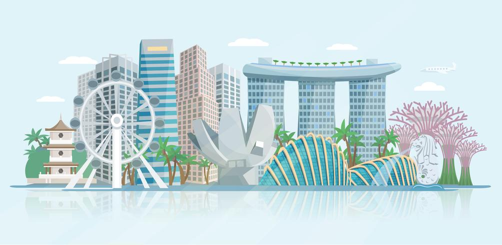 Singapur-Skyline-flaches Panoramablick-Plakat vektor