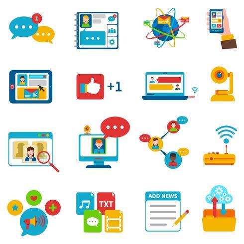 Sociala nätverksikoner inställda vektor