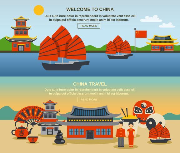 Kinesisk kultur Resa Horisontell Banners Set vektor