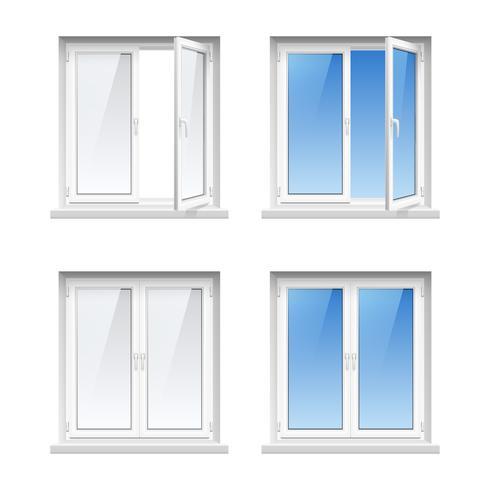 Plastikfensterrahmen 4 realistische Ikonen eingestellt vektor