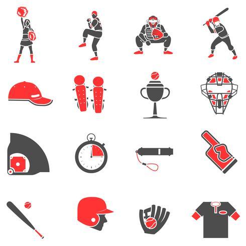 Baseball platt ikoner uppsättning vektor