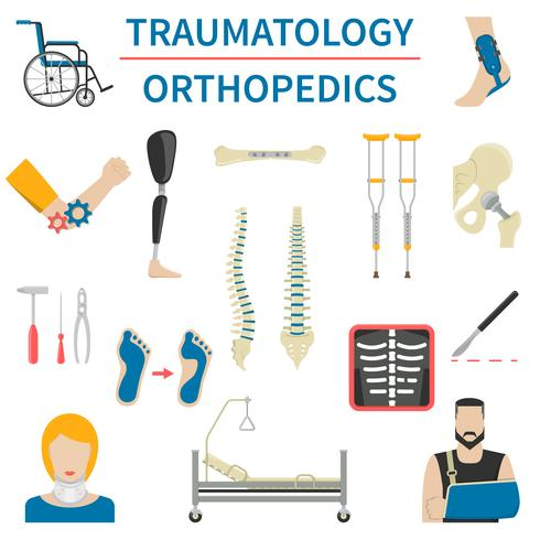 Traumatologie und Orthopädie Icons vektor
