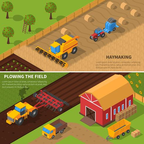 Isometrische Fahnenset der landwirtschaftlichen Maschinen vektor