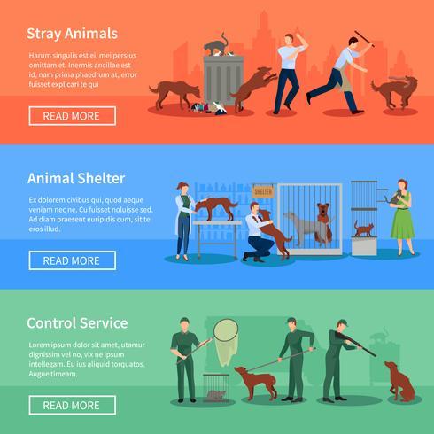 Stray Animals 3 Horisontell Banners Set vektor