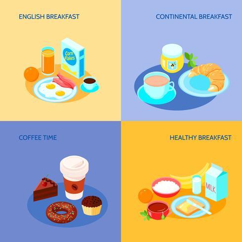 frukost platt uppsättning vektor