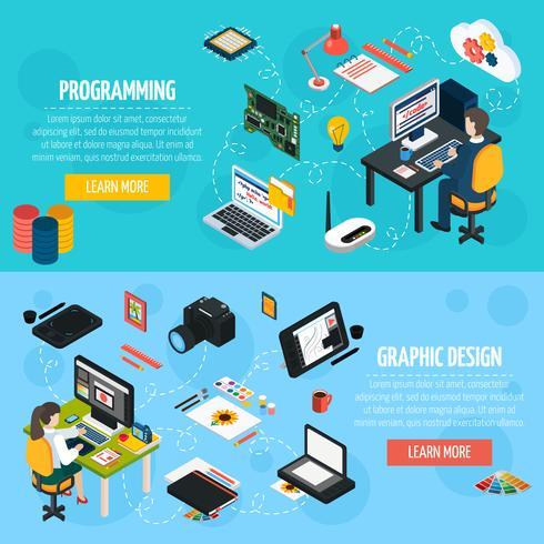 Programmering och grafisk design isometriska banderoller vektor