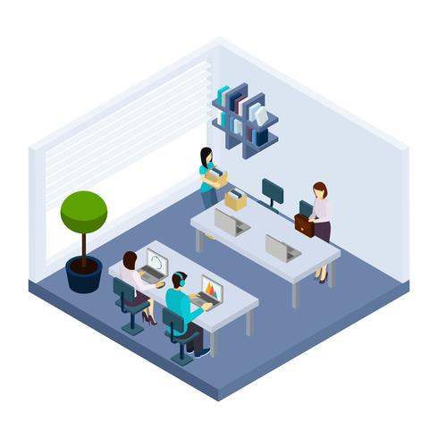 Coworking People Environment Office Isometric Banner vektor