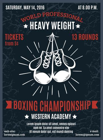 Boxning Professional Championship Poster vektor