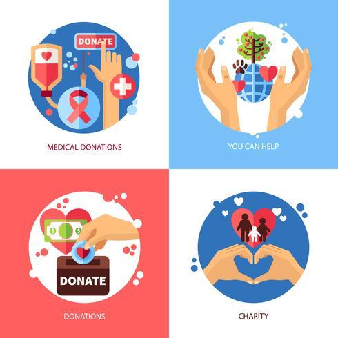 Välgörenhetsdesign Koncept ikoner Set vektor