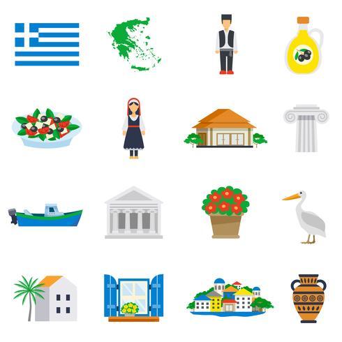 Flache Icon Set Griechenland vektor