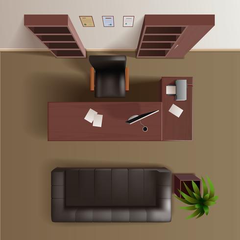 Office Work Room Top View Realistic vektor