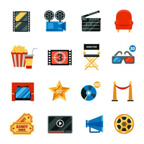 Flat Cinema Dekorativa ikoner Set vektor
