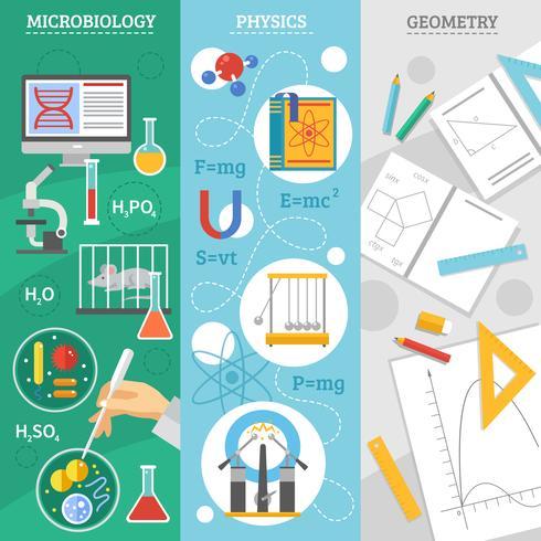 vetenskap 3 platt banderollsats vektor