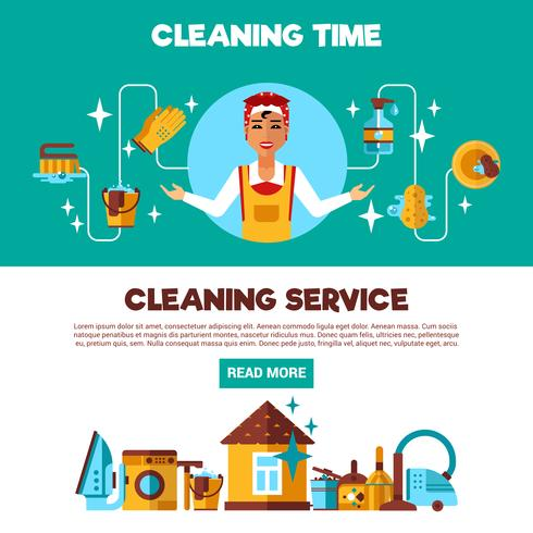 Clening Service 2 Flat Banner Set vektor
