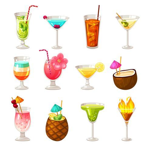 Club Cocktails Icons Set vektor