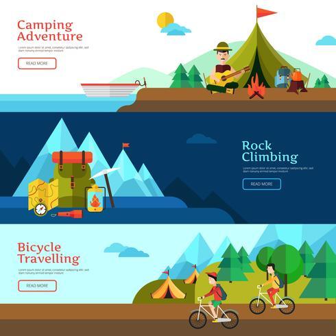 camping flat banner set vektor