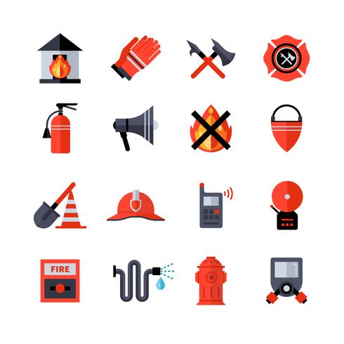 Fire Department Dekorativa ikoner vektor