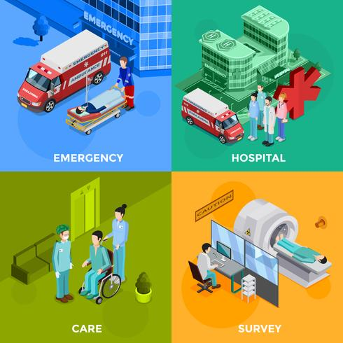 Konzept des Krankenhauses 2x2 vektor