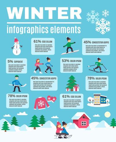 Vinter säsong Utomhus Infographic Elements Poster vektor