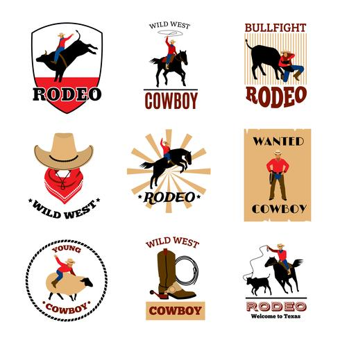 Embleme Satz von Rodeo vektor