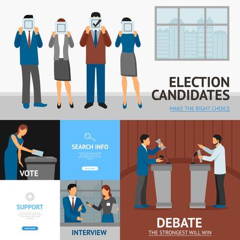 Flache Fahnen-Zusammensetzung der politischen Wahl vektor