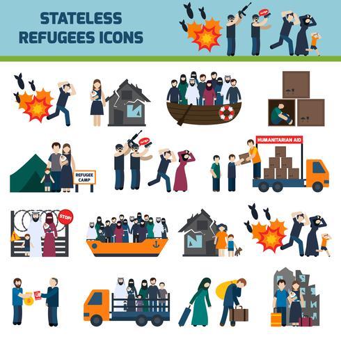 Stateless flyktingar ikoner vektor