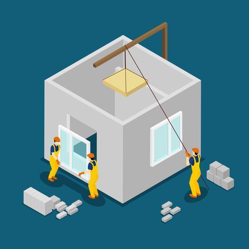 Byggnadsarbetare Isometrisk Banner vektor
