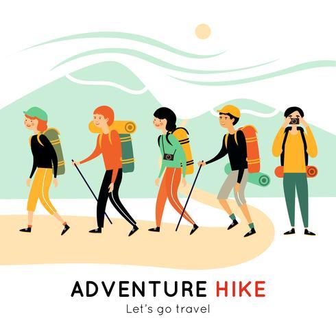 Abenteuerwanderung von glücklichen Freunden vektor