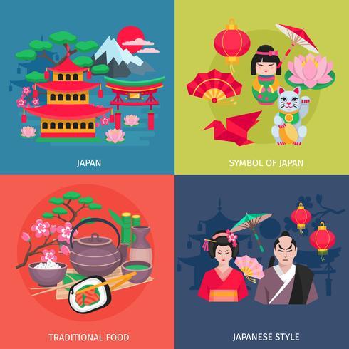 Japanska symboler 4 platta ikoner torget vektor