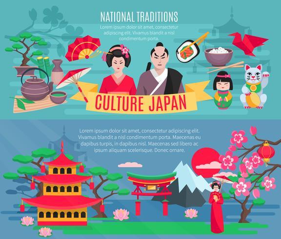 Japanische Kultur 2 horizontale Banner gesetzt vektor