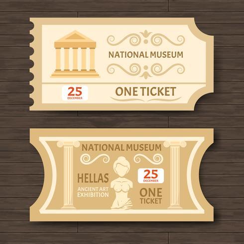 Zwei Vintage Museum Tickets vektor