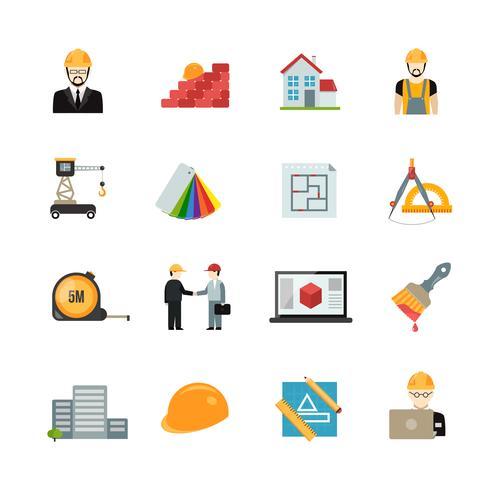 Arkitekt ikoner uppsättning vektor