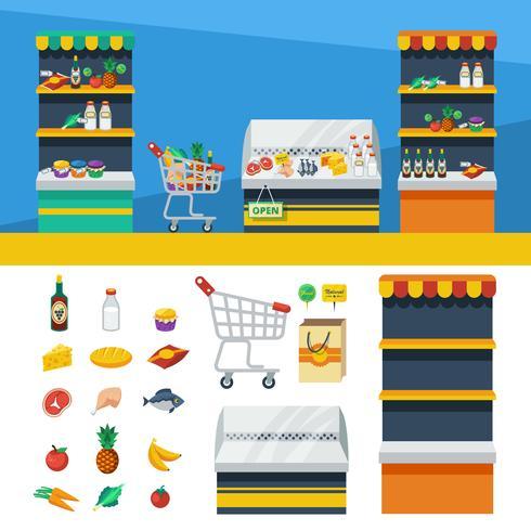 Zwei horizontale Supermarktfahnen vektor