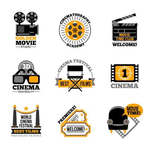 Biograf och film etiketter vektor