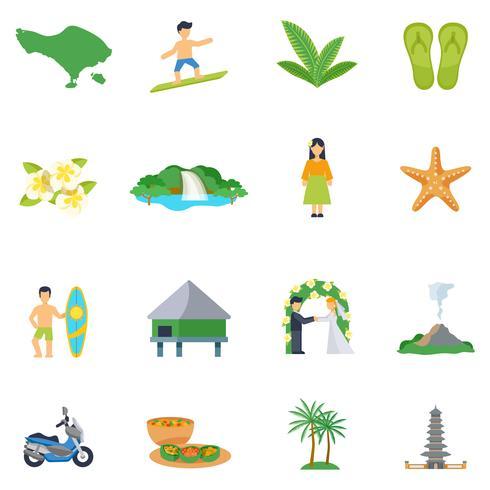 Set av platta ikoner om Bali vektor
