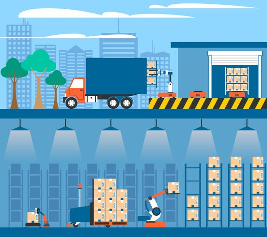 Warehouse Automation 2 Flat Banners Kompositioner vektor