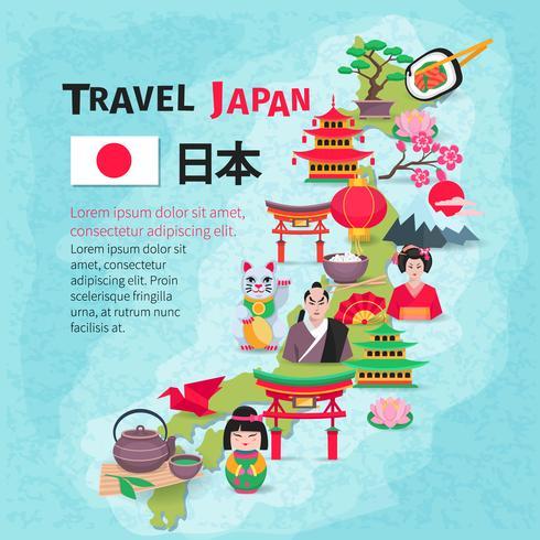 Japansk kultur resekarta bakgrundsaffisch vektor