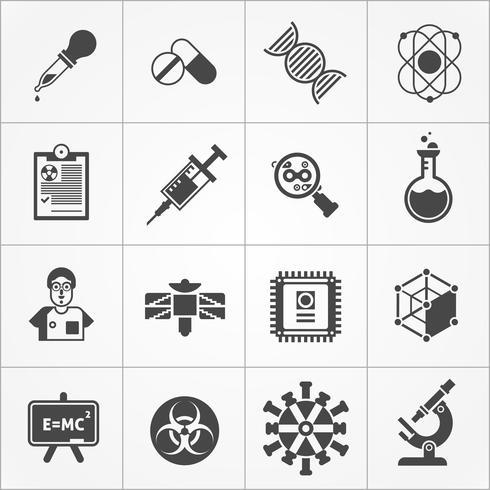 Wissenschaft schwarz weiß Icons Set vektor