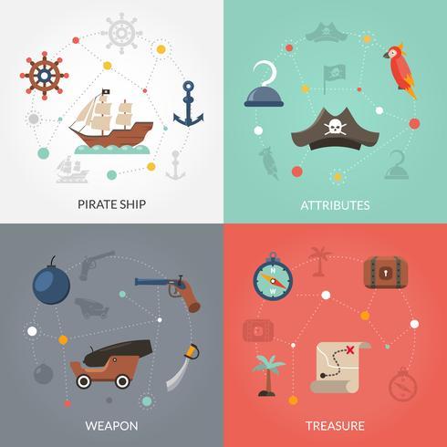 Pirat platt set vektor