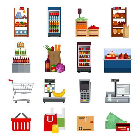 Supermarket dekorativa platta ikoner vektor