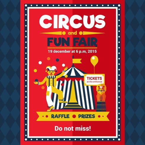 Cirkus rolig rättvis karnevalaffisch röd vektor