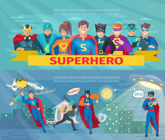 Superhero Team Banners Set vektor