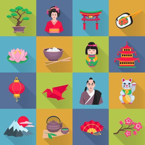 Japanska kultur symboler Flat ikoner Set vektor