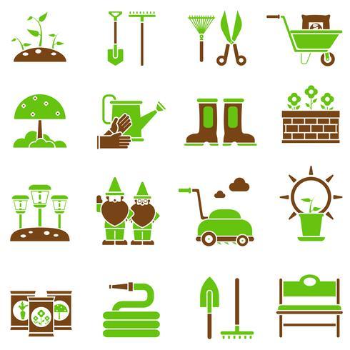 Trädgårds ikoner uppsättning vektor