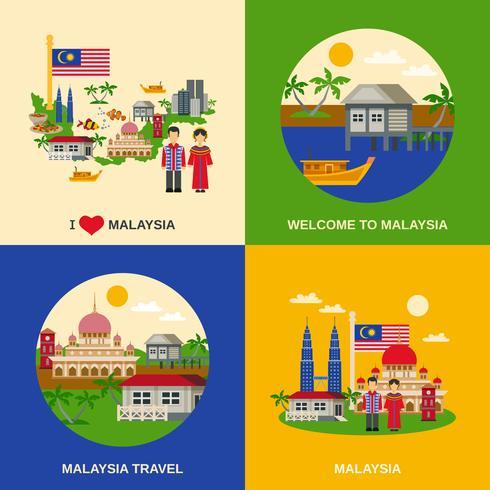 Malaysia-Kultur 4 flaches Ikonen-Quadrat vektor